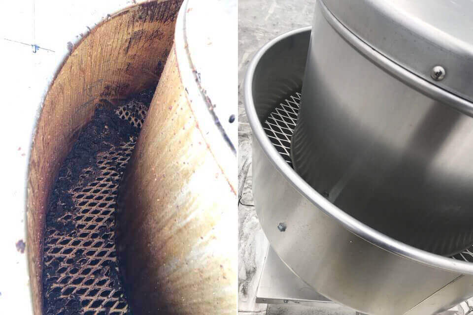 Hood Cleaning Rooftop Turbine Before After Pic Greensboro